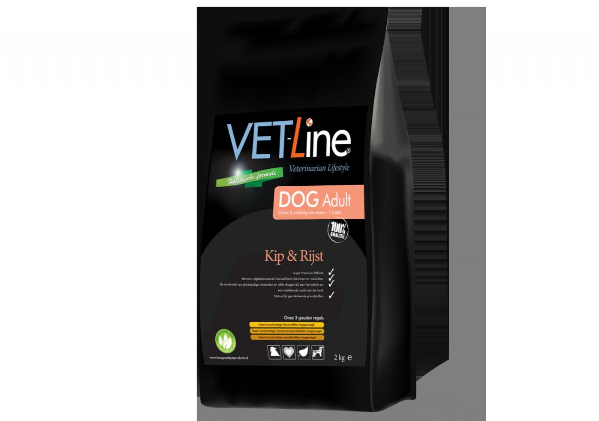 VET-Line Dog Adult  Kleine & Middelgrote Rassen  Kip & Rijst  10 KG