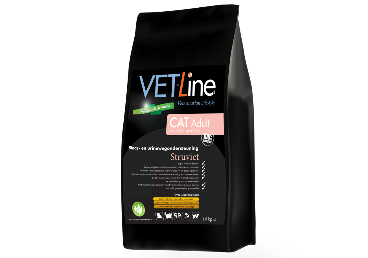 Vet-Line Cat Adult Struviet - Blaas&Urinewegondersteuning  4 KG