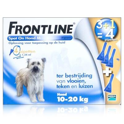 Frontline Spot-On Hond M 10-20 KG  4 pipetten